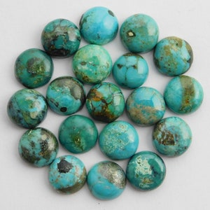 10 Pieces Natural Arizona turquoise oval shape smooth flatback cabochon loose gemstone for jewelry