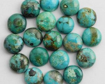 15 pieces natural turquoise cabochon round shape loose gemstone flatback gemstone