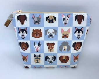 Cosmetic Bag, Makeup Bag, Zipper Pouch, Dog Cosmetic Bag, Dog Makeup Bag, Dog Lover Pouch, Dogs