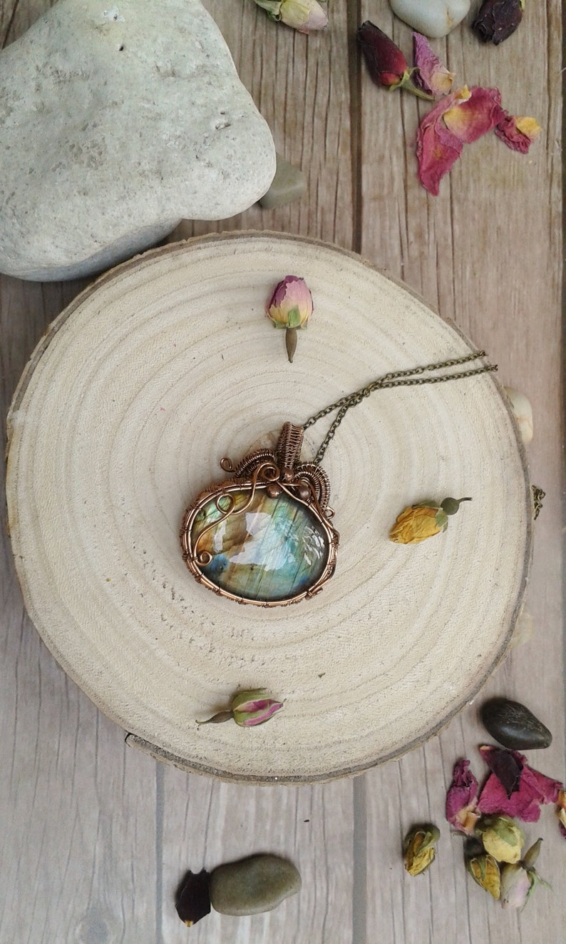 Labradorite Statement Pendant mother/'s day gift labradorite,anniversary gift jewelry gift copper necklace statement necklace crystal
