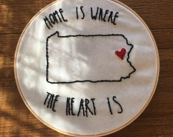 Home is Where the Heart is- Hand Embroidered Wall Hanging