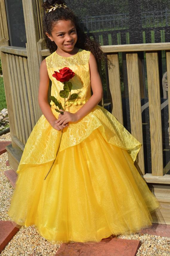 Magnifique Disney Princesse Belle robe jaune dentelle robe Beauty | Etsy #JQ_22