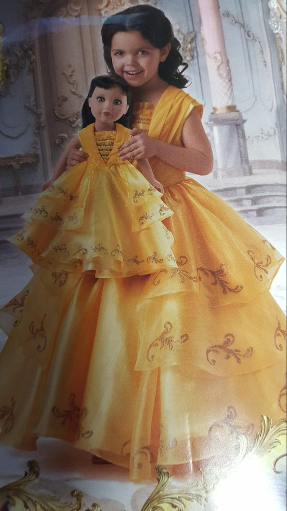Princess Belle Dress Girl Sizes 3 14 Birthday Party Etsy