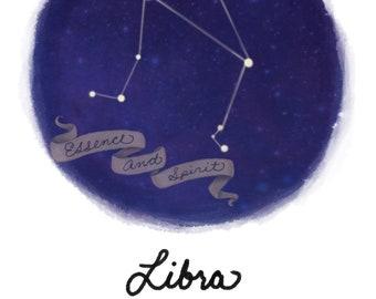 Libra Zodiac Print | Libra Zodiac Art | Zodiac Art | Zodiac Wall Art | Birthday Present | Nursery Decor | Nursery Art | Libra Art