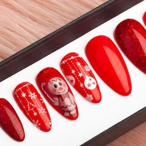 green christmas press on nails with rhinestones winter nails etsy etsy