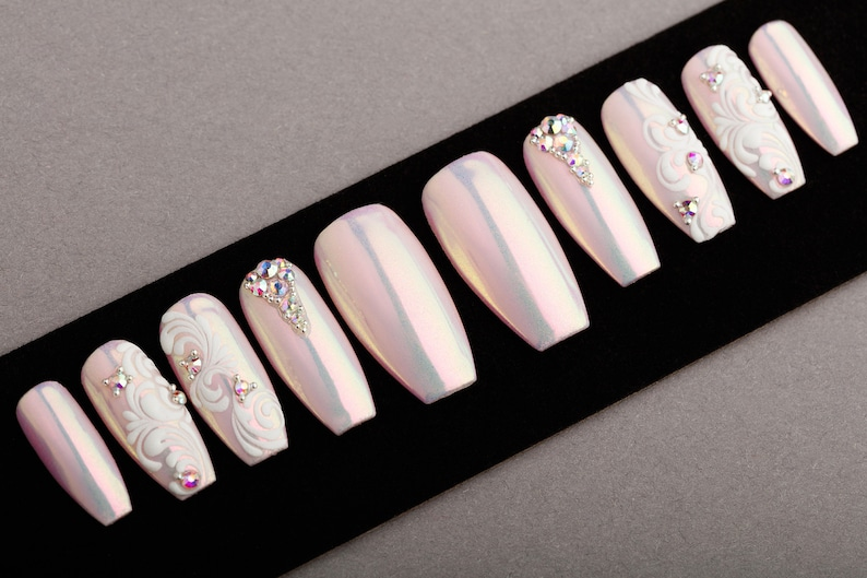 b5ce341b69fa Pink Mirror Press on Nails with Swarovski Crystals and