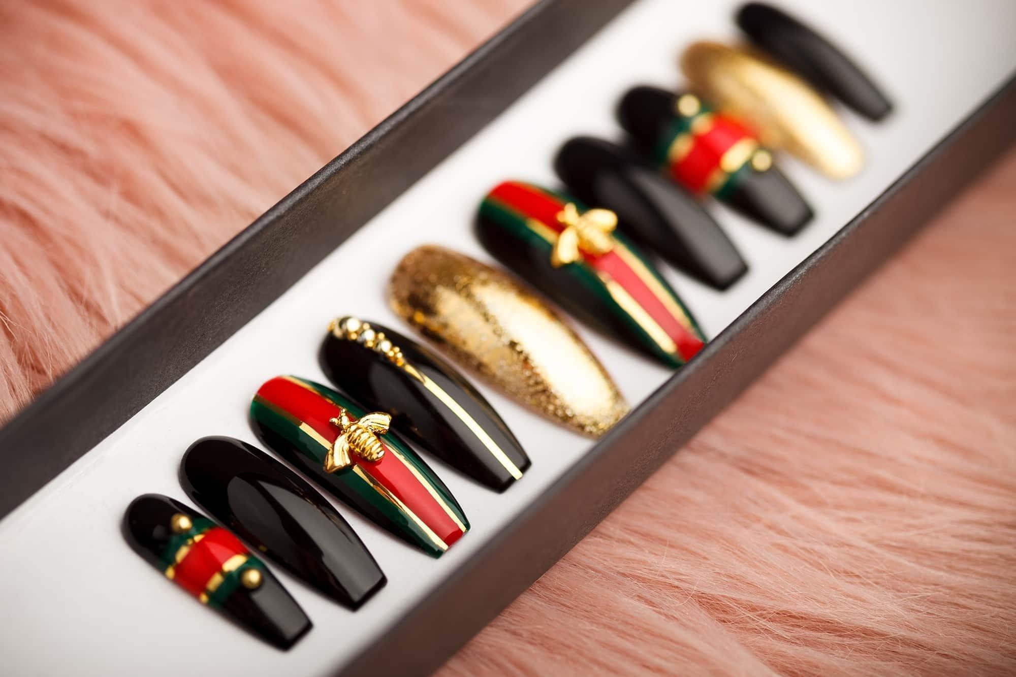 Golden Bees Press on Nails Fake Nails False Nails Glue | Etsy
