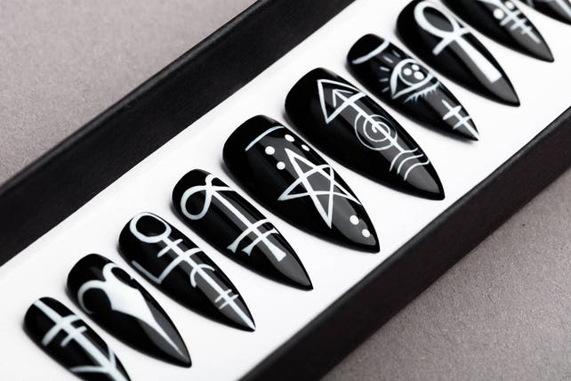 Sigil Press On Nails Occult Signs Black Nails Hand Etsy