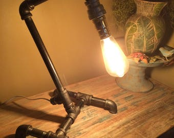 Industrial Steampunk Style Iron Pipe Lamp with Vintage Edison Bulb