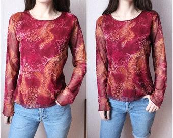 2945abf7fb07 90s Mesh Long Sleeve Top 1990s Sheer Nylon Blouse maroon mesh Long Sleeve  with Floral print small medium tranparentes Shirt Rave 38 40 size