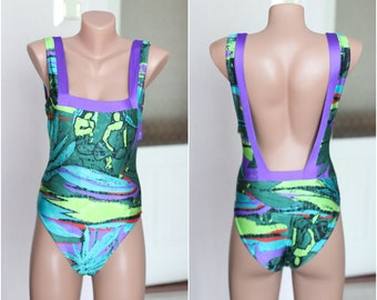 63434b0a17623 90's acid Swimsuit Neon Purple green Open Back Swimming Suit, Festival Rave  Abstract One Piece SMALL size 6 8 XS S 40 vintage bikini