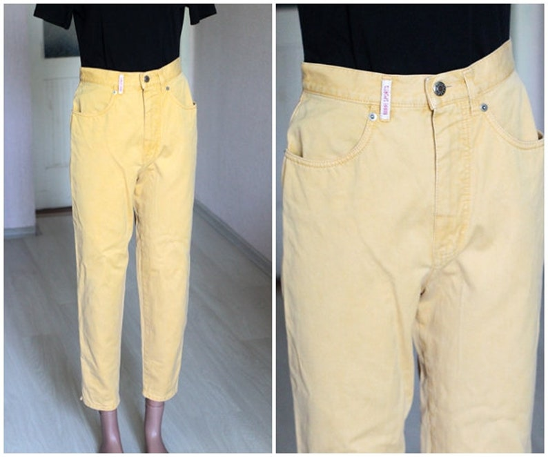 9f386feea821 90 s Vintage women s yellow jeans high waist mom jeans