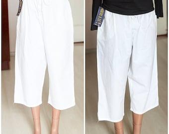 White capris size xl 14 new white breeches wide short pants Summer Cotton Pants