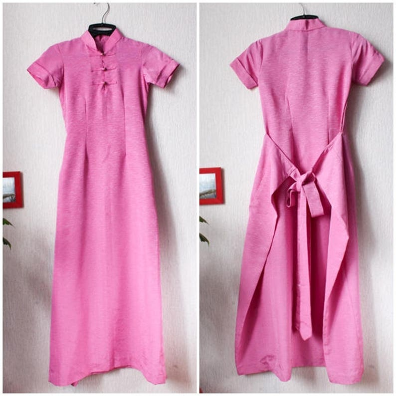 0c4f5cc2763c 90s Cheongsam pink teenage Chinese dress Summer fitted pink
