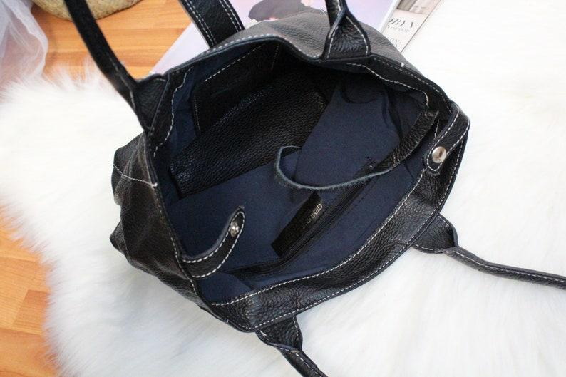 Everyday Leather Purse Vintage Genuine Leather Hobo Handbag Women/'s Classic daily black Shoulder Bag Oversize Shoulder Bag