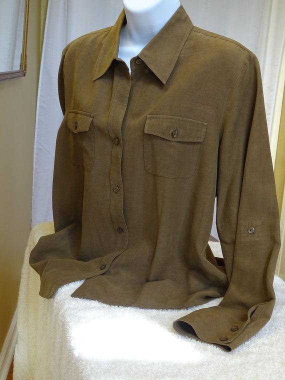 TRANSITIONS Silk & Linen Blouse XL - image 3