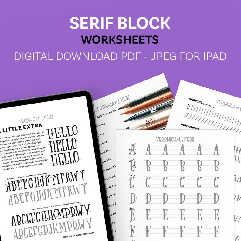 Serif Block Worksheets image 0
