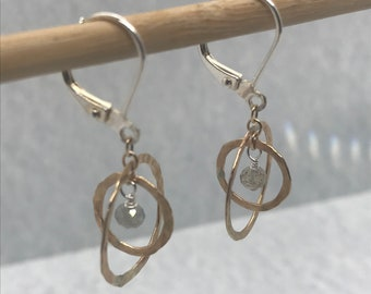 Small Circle Sterling Silver Lever-back Earrings \u2022 Simple Silver Hammered Dainty Dangle Earrings  \u2022 Minimalist Jewelry Mother/'s Day Gift