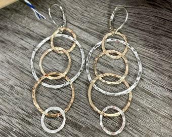 Gold and Silver Circle Long Earrings, Multi Hoop Mixed Metal Earrings, Handmade Leverback Earrings, Minimalist Earrings, Bridesmaids gift
