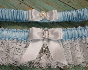 Something Blue Wedding or Prom Satin and Lace Garter Set With Key To My Heart Charm