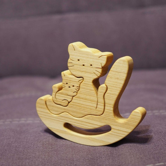 Wooden balance toy, game, cat mummy + baby, Montessori material, wood animal puzzle, Waldorf toy, cat family, for baby / toddler