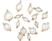 Faceted White Opalite Checker Cut Gemstone Multi Shapes Charm Connector Pendant 24k Gold Plated Double Bail Bezel Making DIY Jewelry