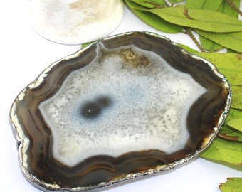 Table Decor Home Decor Natural White Brown Agate Slice 24k Gold Plated Coaster For Home Decoration Finding Supplies Agate For Decoration