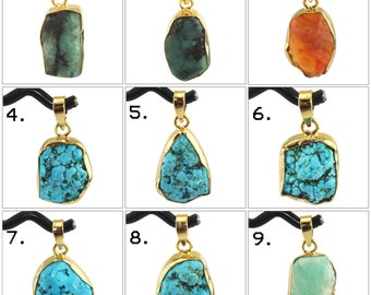 Natural Rough Turquoise Ruby Carnelian Amethyst Gold Plated Pendant Raw Stone Connectors Finding Jewelry Supplies DIY Pendants Connectors