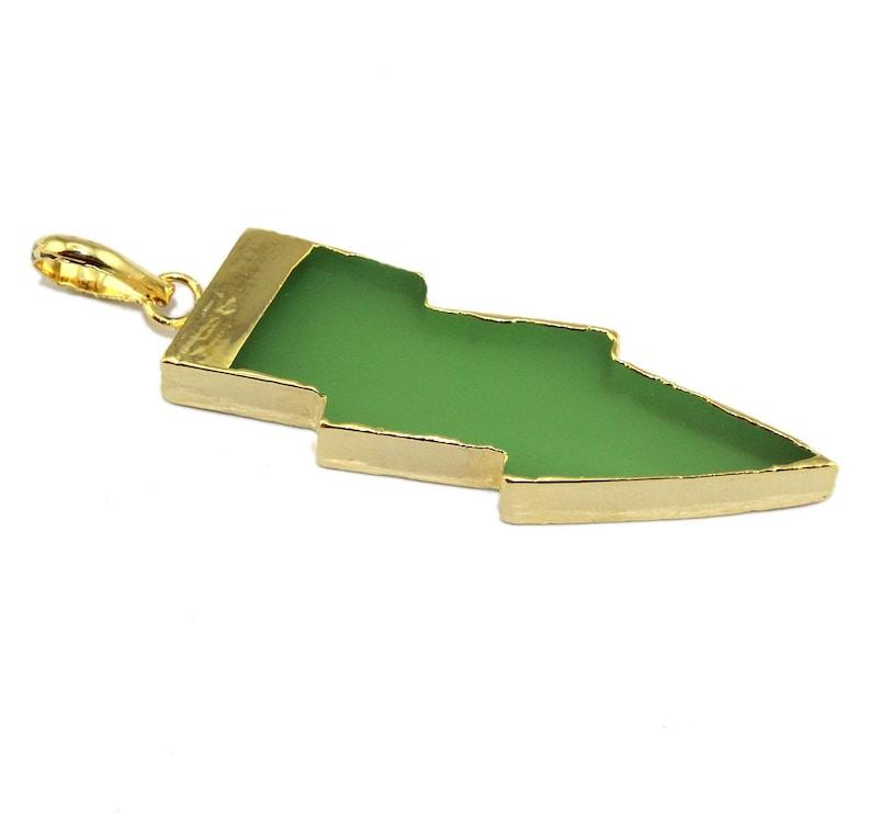 Thunder Shape Chalcedony Opalite Quartz Onyx 24k Gold Electroplated Pendant Charm Jewelry Making Supplies Gemstone Jewelry Making Supply