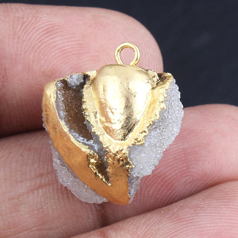 DIY Pendant Sea Shell Druzy Natural Shell Druzy Gold Plated Edges Connectors Sea Shells 19mm To 26mm DIY Druzy Shell Pendant Connectors