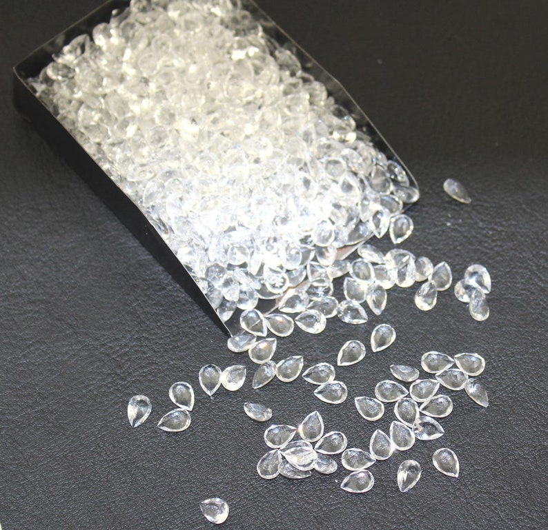 84ea69cdd082 Clear Crystal Quartz Faceted Pear Shape Loose Stones Hydro