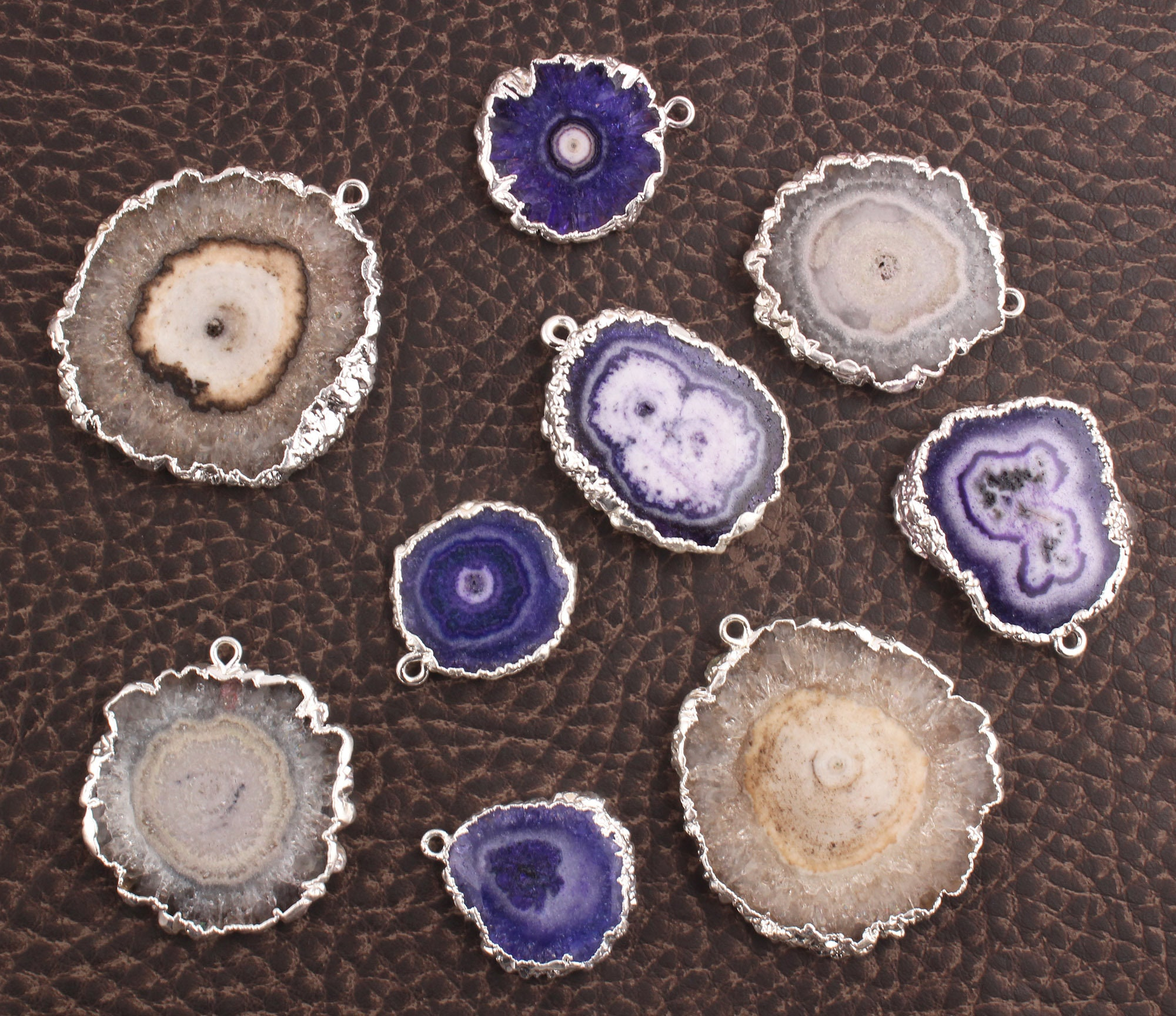 Natural Geode Slice Solar Quartz Chalcedony Silver Plated Pendant Connector