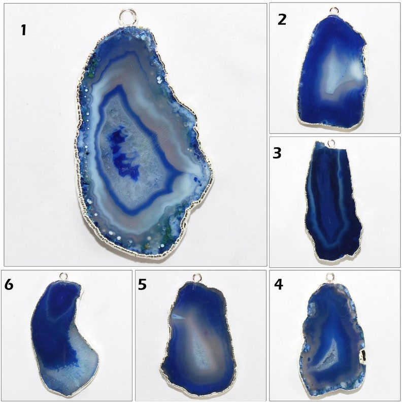 Single Bail Connectors Jewelry Supplies DIY Pendants Natural Blue Agate Slice Silver Plated Pendants Connectors Agate Slice Pendants