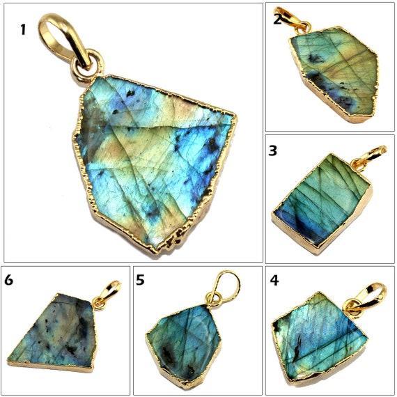 Natural Spectrolite Labradorite 24k Gold Plated Double Bail Gemstone Connector