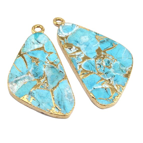 Pretty Multi Color Mojave Copper Turquoise Slice 24k Gold Electroplated Connectors DIY Pair Making Earrings Finding Jewelry Supply Jewelry