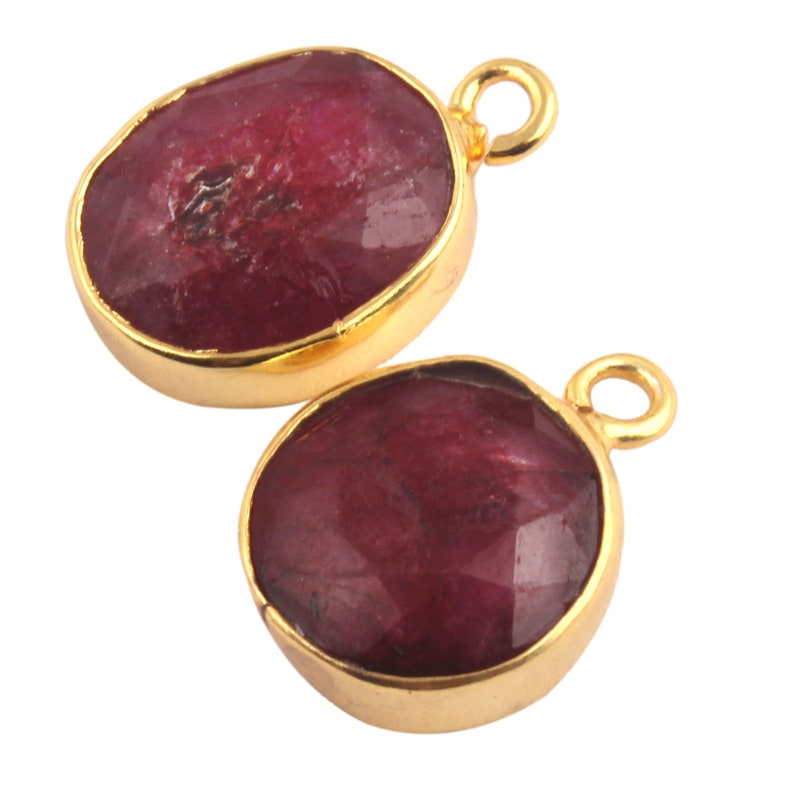 Faceted Stone Gold Plated Connector Ruby Pendant DIY Pendant DIY Finding jewelry 2 Piece Of Dyed Natural Ruby Oval Round Connectors