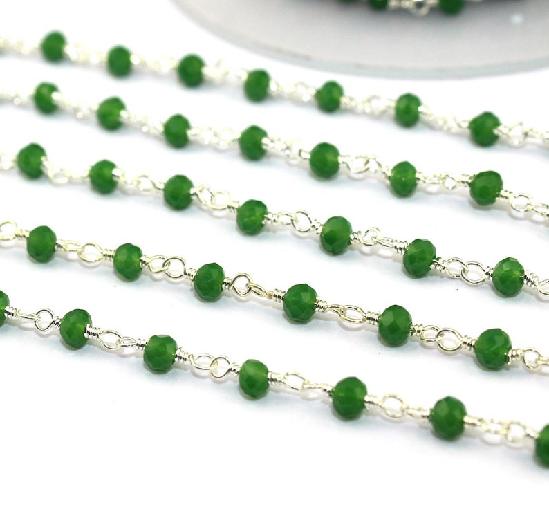 Wire Wrapped Rosary Chain Chain By Foot 3-3.5 mm Faceted Green Onyx Silver Plated Rosary Chain Beaded Chain Finding Beads Supplies