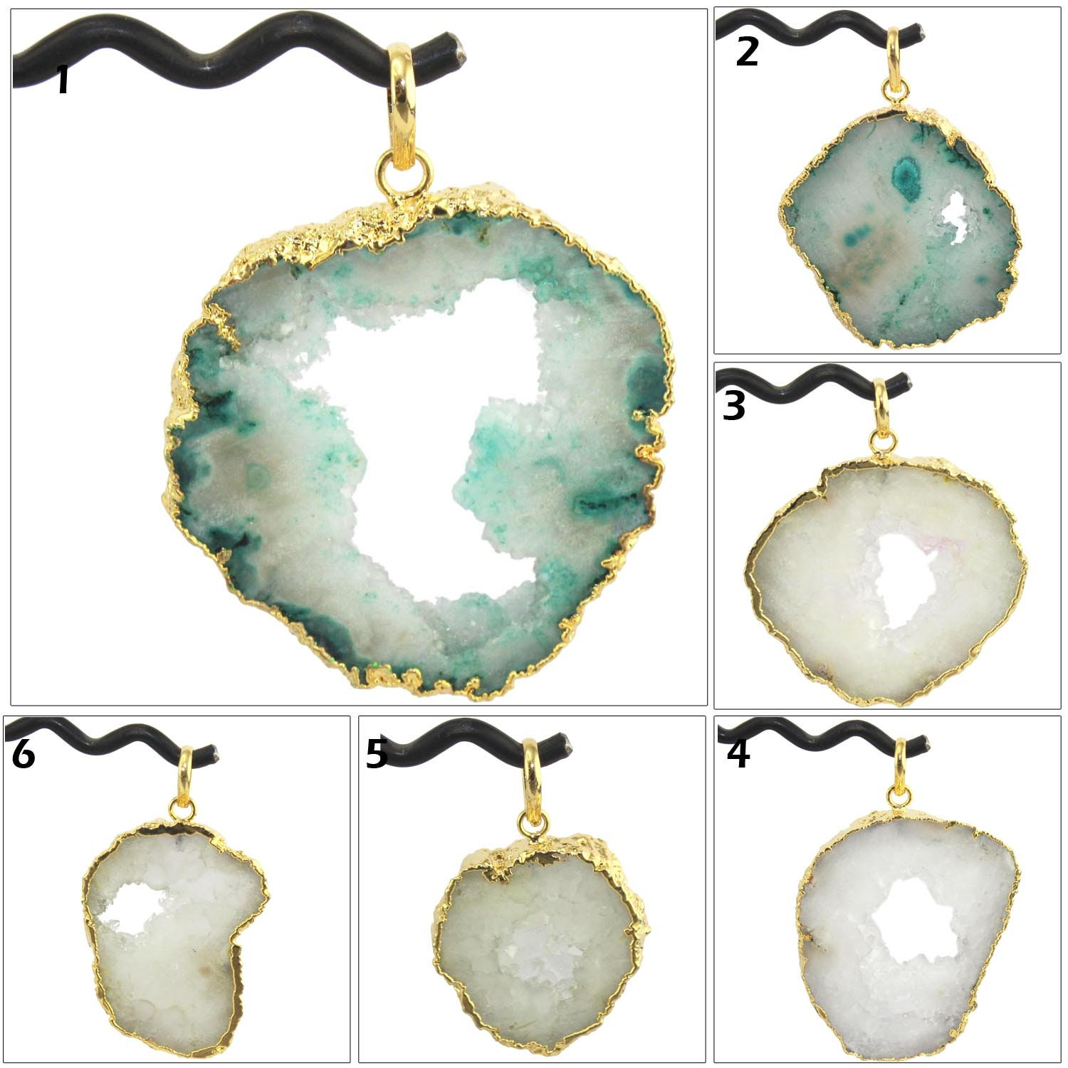 Green Natural Geode Slice Druzy 24k Gold Plated Connector Jewelry Single Bail