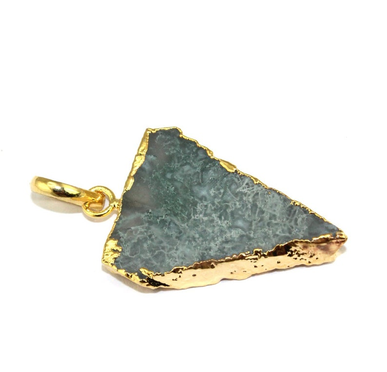 Beautiful Natural Green Moss Agate Slice 24k Gold Electroplated Pendant Jewelry Making Supplies For Jewelry Designing