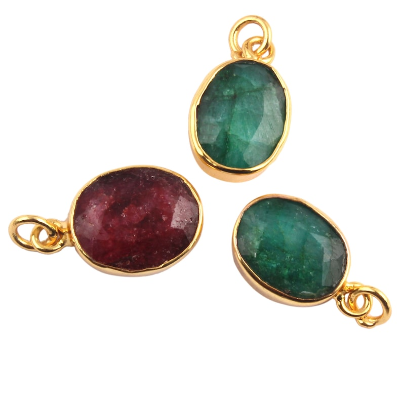 Finding jewelry Faceted Stone DIY Pendants Gold Plated Connectors 3 Piece Of Dyed Natural Emerald Pendant Connectors Ruby Charms