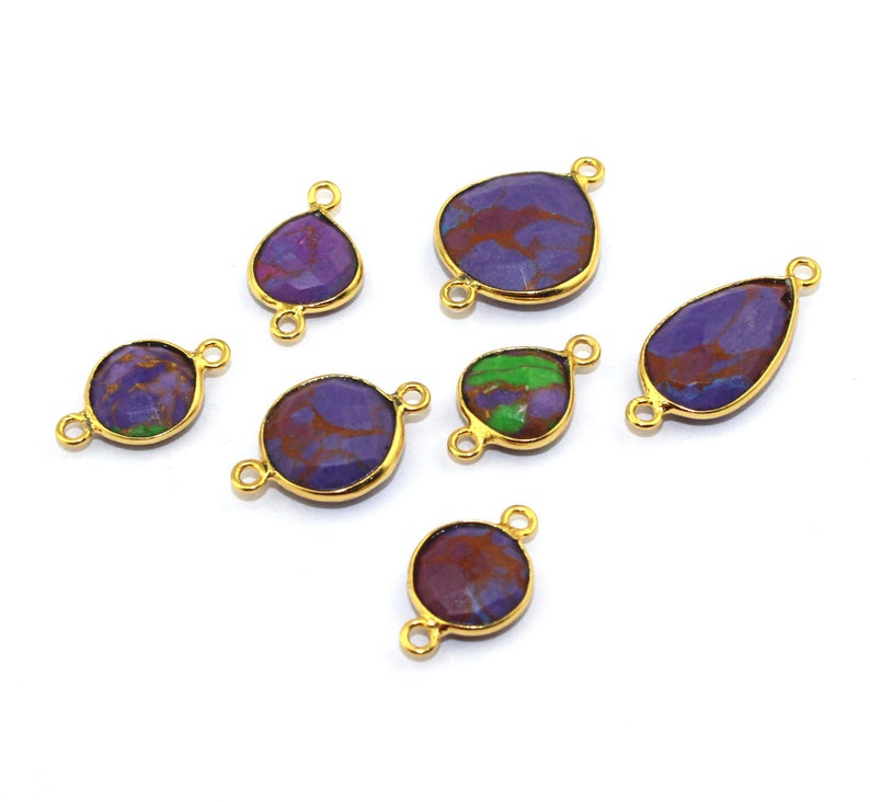 Synthetic Copper Purple Turquoise Gemstone Charm Connector Pendant Multi Shapes 24k Gold Plated Double Bails Bezel Making Designer Jewelry