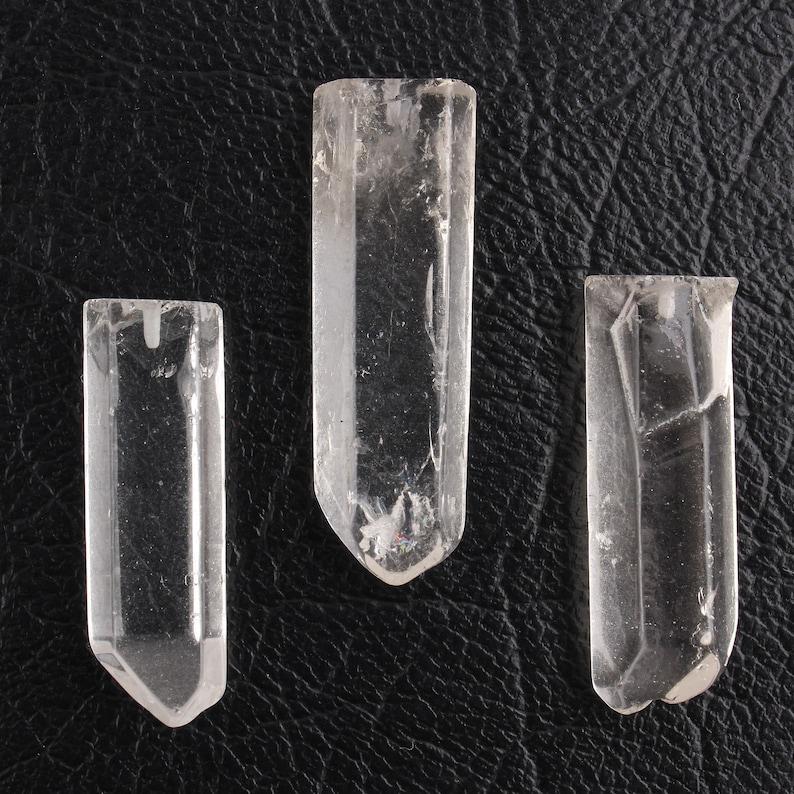 3 Pieces Genuine White Clear Crystal Loose Gemstone DIY Pendant Pencil Shape Loose Gemstone Clear Crystal Pencil Drilled Crystal Pieces