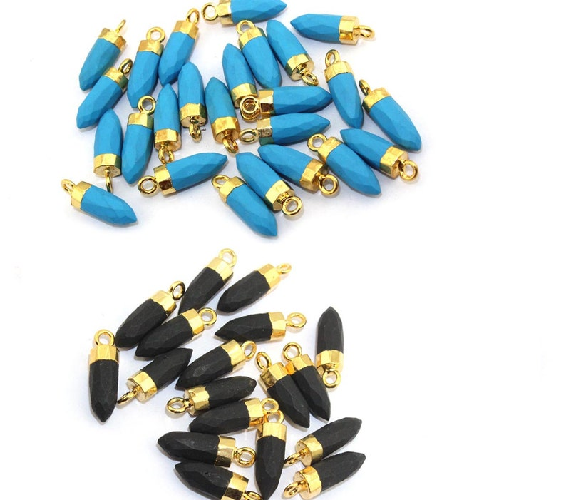 Faceted Bullet Shape Turquoise Pencil Connector Pendant with 24k Gold Electroplated Edges Gemstone Jewelry Supplies Connector BULK LOT