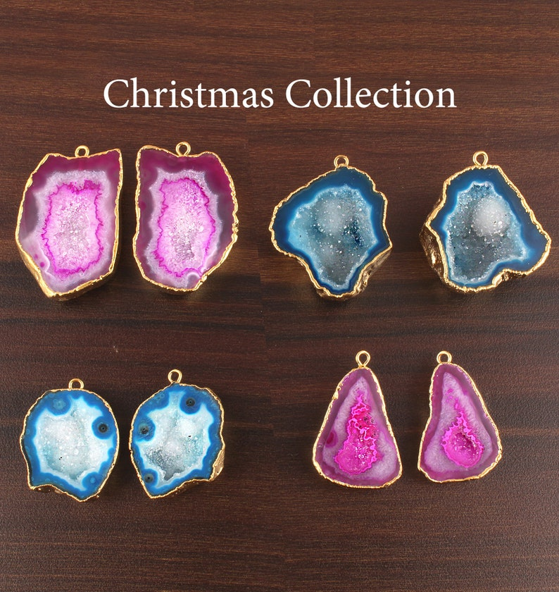 4 pairs Natural Geode Druzy Gold Plated Earrings Pair Connectors Assorted Christmas Collection Sky Blue Pink Geode Druzy DIY Earrings