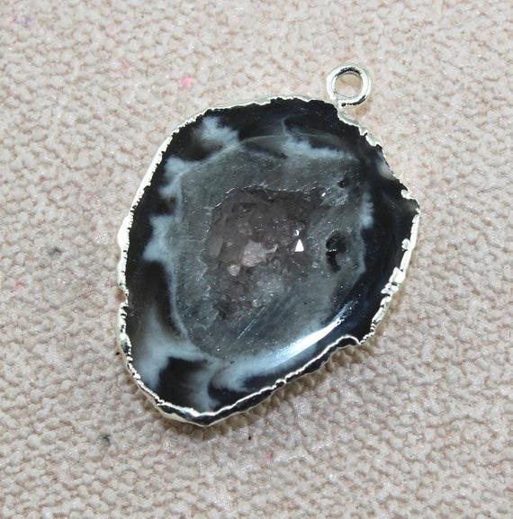 Natural Brazilian Geode Slice Gemstone Silver Plated Designer Connector Make DIY