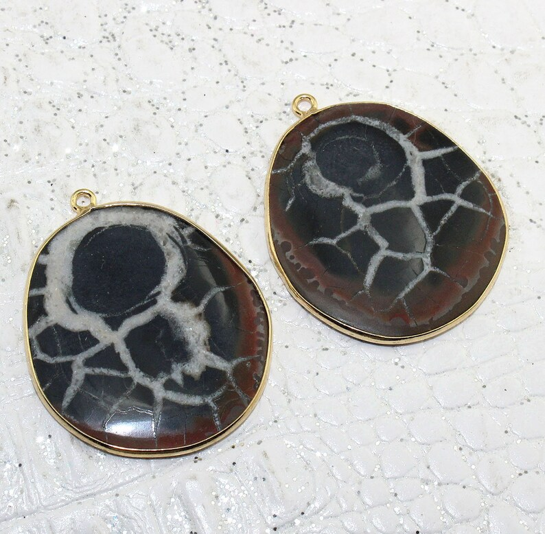 Natural Peruvian Black Septarian Smooth Cabochon 24k Gold Plated Bezel Connectors Pair Making DIY Earrings Fossile Stone Connector Jewelry