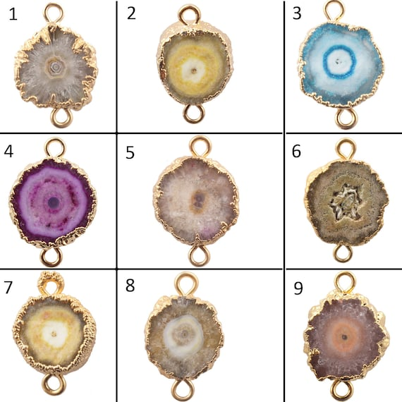 Natural Solar Quartz Gold Plated For Connector Bracelet Necklace Jewelry Making