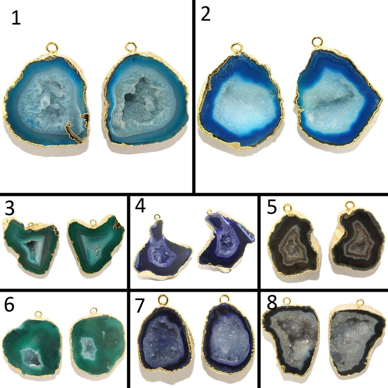 Rare Blue Natural Geode Slice Druzy Gold Electroplated Connector Making Jewelry