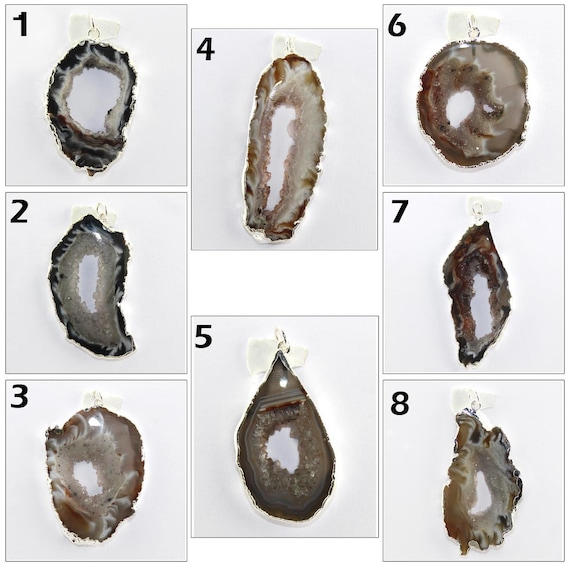 Natural Geode Agate Slice Silver Plated DIY Designer Jewelry Findings Supply