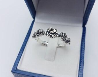 Five rose ring,Silver Rose Ring,Vintage Rose Ring, Sterling Silver 925,Black Oxidize
